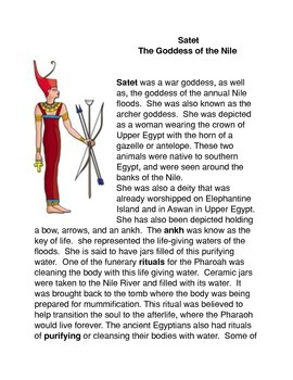 Satet: The Goddess of the Nile Common Core activities