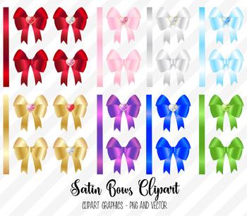 Satin Bows Clipart, diamond heart ribbon vector PNG, EPS, SVG graphics clip art