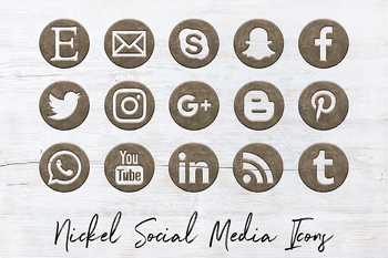 Satin Nickel Social Icons Set