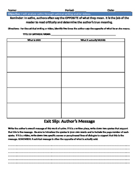 Satire Analysis Worksheets Teaching Resources Tpt