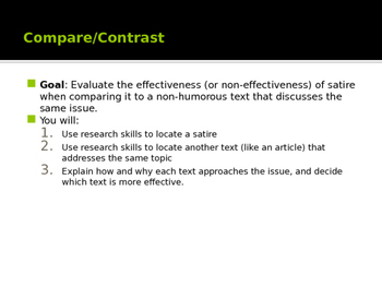 Satire Compare and Contrast Assignment