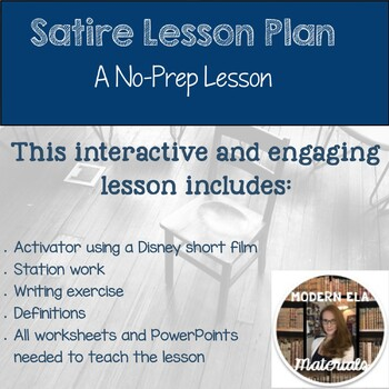 Satire Lesson Plan By Modern Ela Materials Teachers Pay Teachers