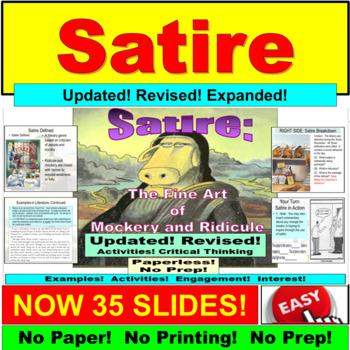 Satire Worksheets Teaching Resources Teachers Pay Teachers