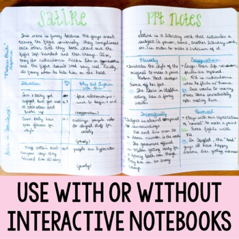 Satire PowerPoint and Essay for Interactive Notebooks