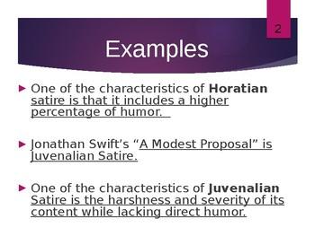Satire Presentation w/ Examples and Graphic Organizer