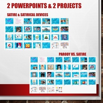 Satire Satirical Devices and Parody PowerPoints Projects Assessments Bundle