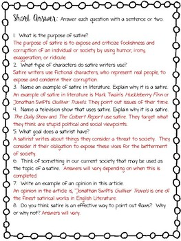 Understanding satire worksheet Research paper Academic Writing Service