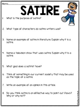 Satire Overview Reading Comprehension Worksheet By Teaching To The