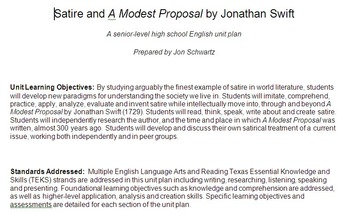 Satire unit on A Modest Proposal by Jonathan Swift with Tr