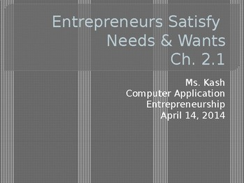 Satisfying Wants & Needs - Entrepreneurship Ch. 2