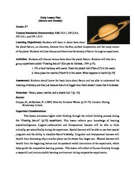 Saturn Density Lesson