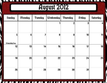 Saucy Zebra Style School Year Calendar