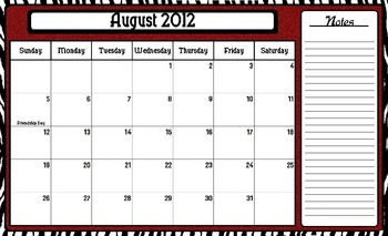 Saucy Zebra Style School Year Calendar with Notes