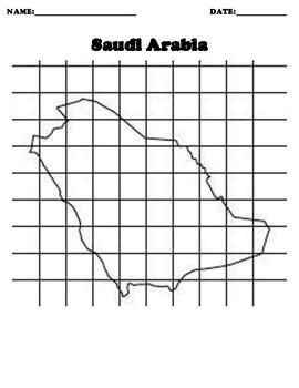 Saudi Arabia Coordinate Grid Map Blank