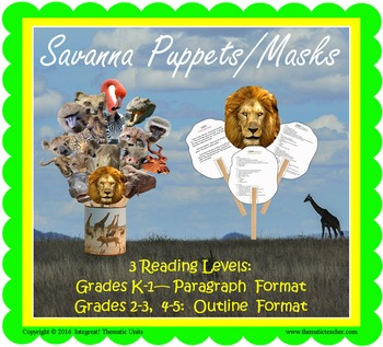 Savanna Animal Puppets or Masks