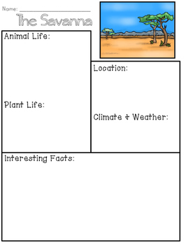 Savanna Habitat/Biome Research Organizer