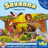 Savanna Habitat Craft Activity | African Grassland Habitat Diorama | Paper Model