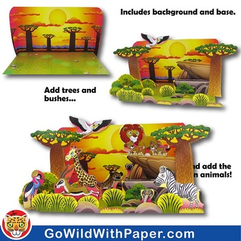 photograph about Diorama Backgrounds Free Printable named Savanna Habitat Craft Match African Grland Habitat Diorama Paper Design