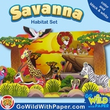Savanna Habitat Craft Activity   African Grassland Habitat Diorama   Paper Model