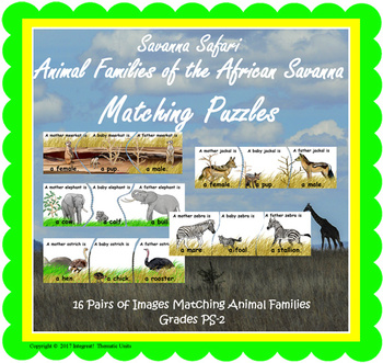 Savanna Safari Animal Families Matching Puzzles