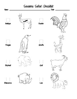 Savanna Safari Checklist