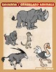 Savanna or Grassland animals clipart set