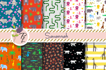 Savannah Animals Seamless Pattern Set. Digital paper pack.