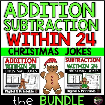 Addition & Subtraction Fact Practice with Christmas Jokes Bundle
