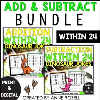 Addition/ Subtraction Practice with Dinosaur Jokes BUNDLE!