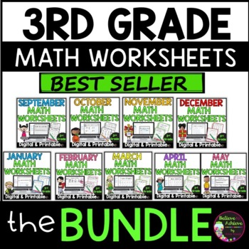 Bundle No Prep! Grade 3! Math for 8 months! Year-long math!