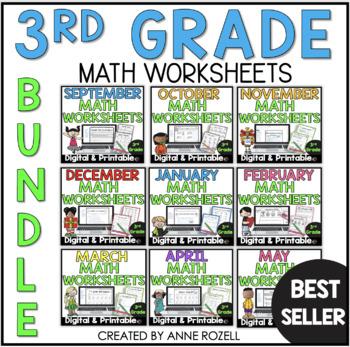 3rd Grade Monthly Math Bundle (year-long!)