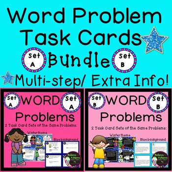 Word Problem Task Cards BUNDLE-Set A and B (2 versions each)
