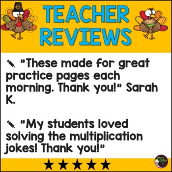 Multiplication Fact Practice with Thanksgiving Jokes (Bundle)