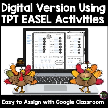Multiplication Fact Practice with Thanksgiving Jokes - (Bundle Facts 1's-12's)