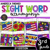 Third Grade Color by Code Sight Words America | Veterans Day | Patriot Day