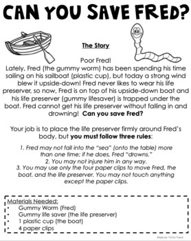 Save Fred! A STEM and Team building Challenge