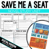 Save Me A Seat Novel Study Unit- Literature Circle Unit- Comprehension Questions