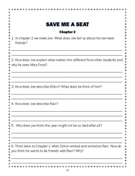 Save Me a Seat Novel Study