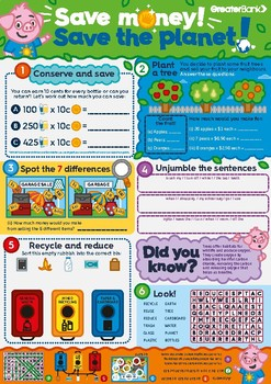 Save Money & Save The Planet Activity Sheet! 1-3