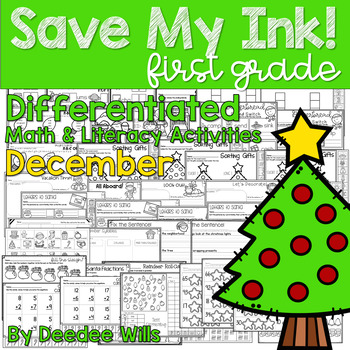 Save My INK: December 1st Grade Math and Literacy Activities
