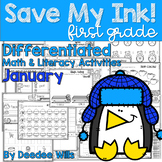 Save My INK: January 1st Grade Math and Literacy Activities