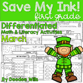 Save My INK: March 1st Grade Math and Literacy Activities