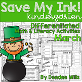 Save My INK: March NO PREP Math and Literacy Activities