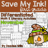 Save My INK: November 1st Grade Math and Literacy Activities