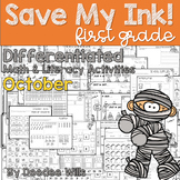 Save My INK: October 1st Grade Math and Literacy Activities