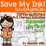 Save My INK: Summer to 1st NO PREP Math and Literacy Worksheets