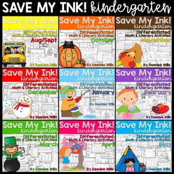 Save My INK:NO PREP Math and Literacy Worksheets BUNDLE