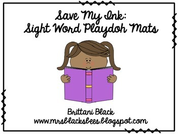 Save My Ink: Sight Word Playdoh Mats