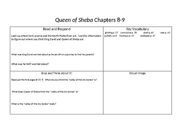Save Queen of Sheba Questions and Vocabulary