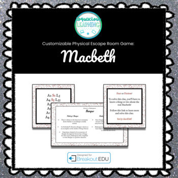 Save Shakespeare! Customizable Macbeth Escape Room / Breakout Game